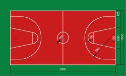 篮球场标线图图片